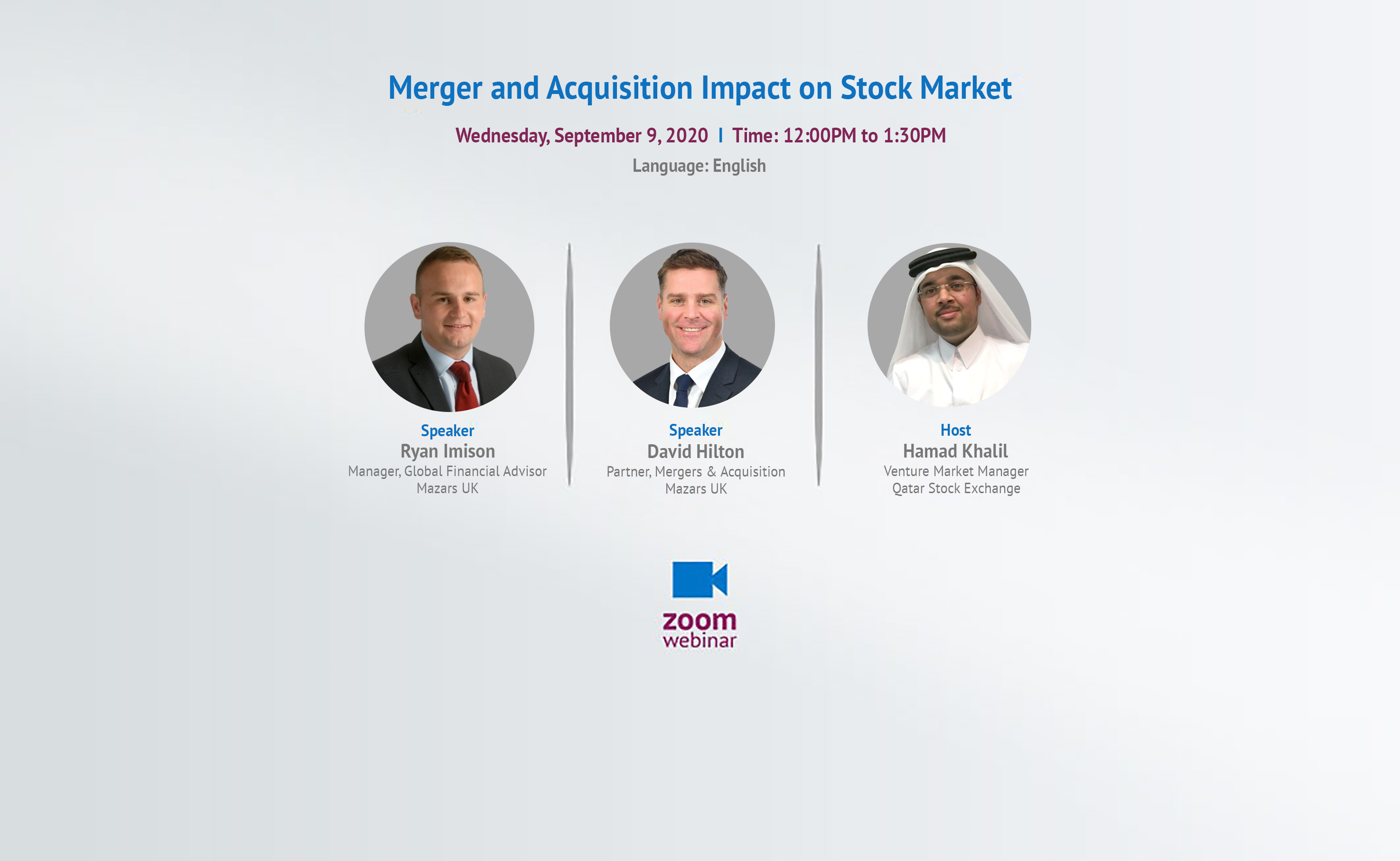 Speakers in FMerger and Acquisition impact on Stock Market Webinar