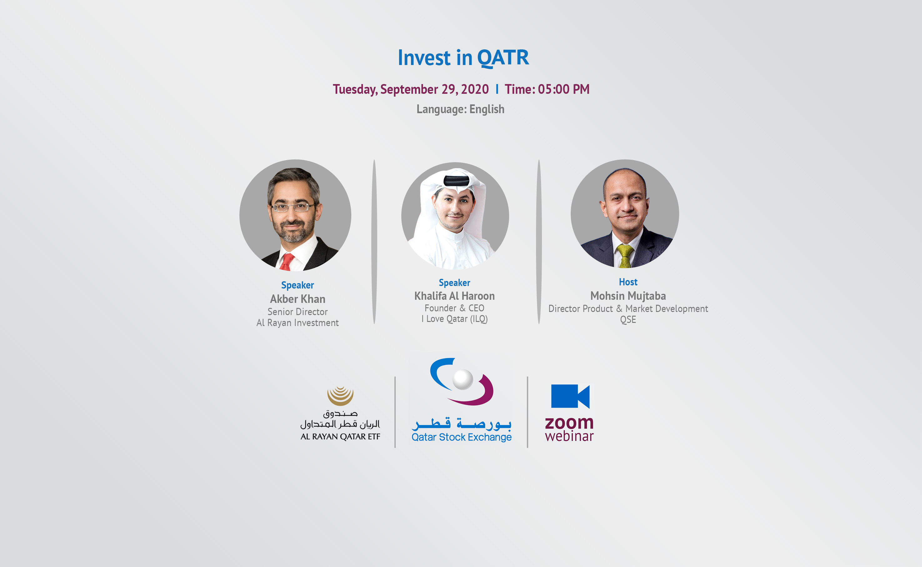 Speakers in Invest in Al Rayan Qatar ETF Webinar